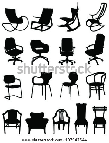Silhouettes chairs-vector - stock vector