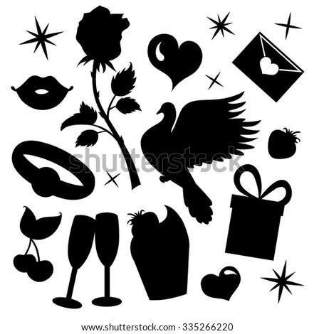 Silhouettes collections for Valentine's day. - stock vector