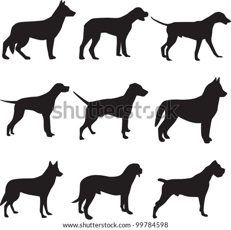 silhouettes Dogs - stock vector