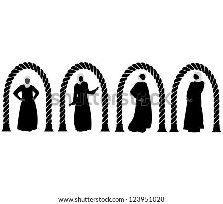 Silhouettes  fashion Muslim Arabic woman.Vector - stock vector