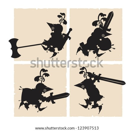 Silhouettes foot knights, vector