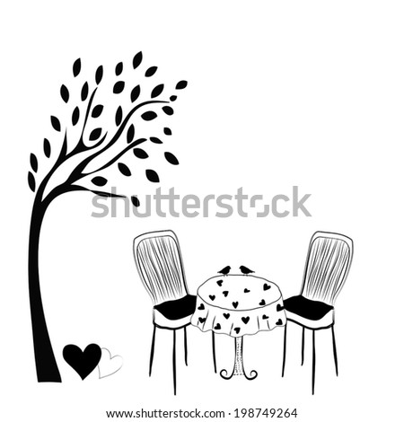 silhouettes  garden with table and chairs. vector  - stock vector