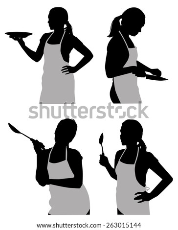 silhouettes housewife in the kitchen - stock vector