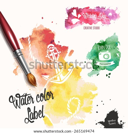 Silhouettes in colorful ink splatters - stock vector