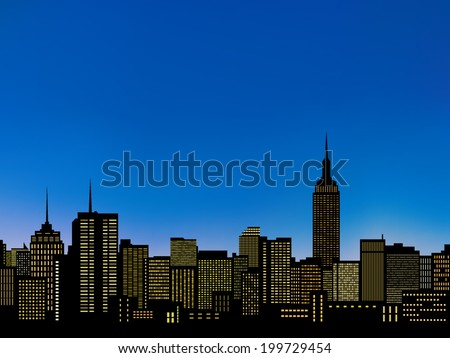 silhouettes manhattan, new york cityscape and light from building windows under blue sky background(vector) - stock vector