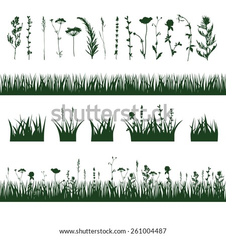 silhouettes meadow grass and twigs of plants. vector illustration