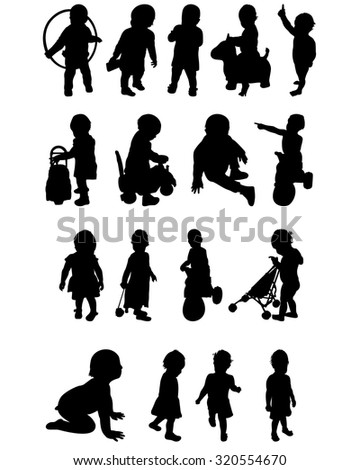 Silhouettes of a baby  - stock vector