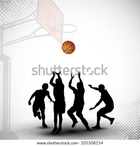 Silhouettes of a basketball players playing basket ball match on abstract grungy basketball court background. EPS 10. - stock vector