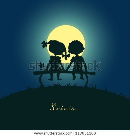 Silhouettes of a boy and a girl sitting in the moonlight on a bench. Design for card. - stock vector