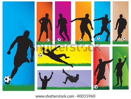 Silhouettes of a football players. Vector illustration - stock vector