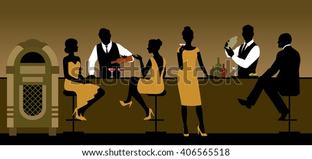 Silhouettes of a group of people drinking in a bar Stock vector illustration - stock vector