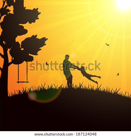 Silhouettes of a happy family of the father and the child on orange background, illustration.