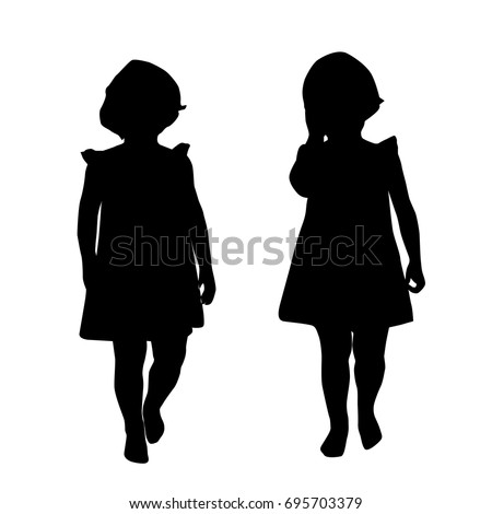 Silhouettes Little Girl Vector Standing Black Stock Vector ...