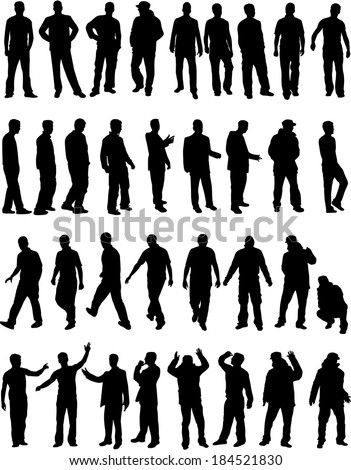 Silhouettes of a man. - stock vector