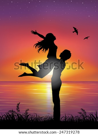 Silhouettes of a man holding a woman. On the background sunset and stars over the sea. - stock vector