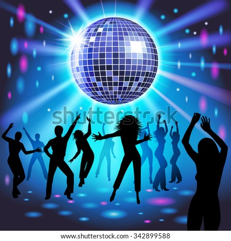 Silhouettes of a party crowd on a glowing lights background. Vector illustration - stock vector