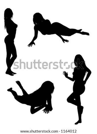silhouettes of a standing/lying woman - stock vector