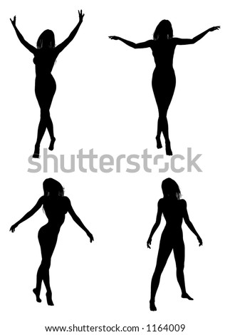 silhouettes of a standing/walking woman - stock vector