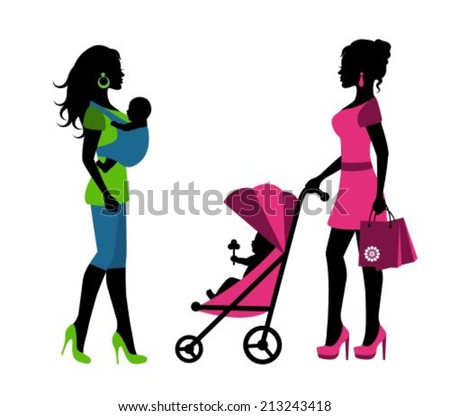 silhouettes of a woman with children in a sling and stroller  - stock vector