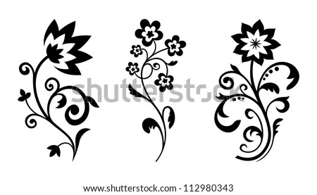 Silhouettes of abstract vintage flowers. Vector floral elements for art design