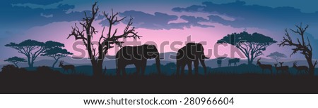 Silhouettes of african wild elephants and other animals at sunset or sunrise  - stock vector
