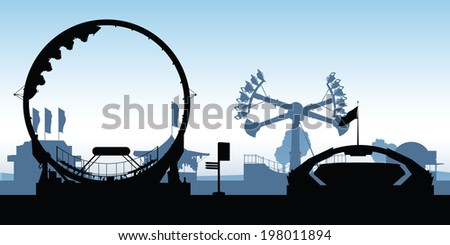Silhouettes of amusement park rides. - stock vector
