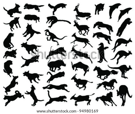 Silhouettes of animals in the high jump 2-vector