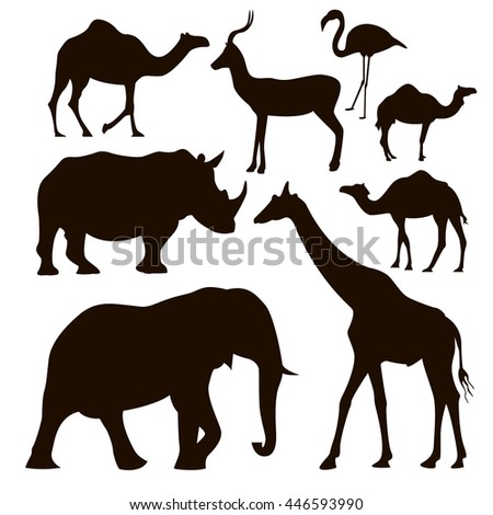 silhouettes of animals , rhinoceros , camels , flamingos , goat, elephant, camel, vector