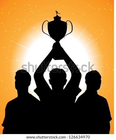 silhouettes of athletes with a cup - stock vector