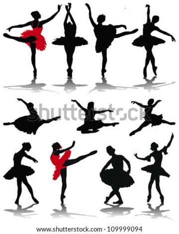 Silhouettes of ballerinas-vector - stock vector