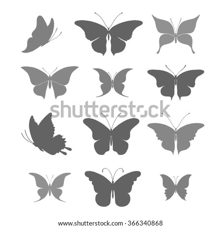 Silhouettes of beautiful butterflies vector illustration. - stock vector