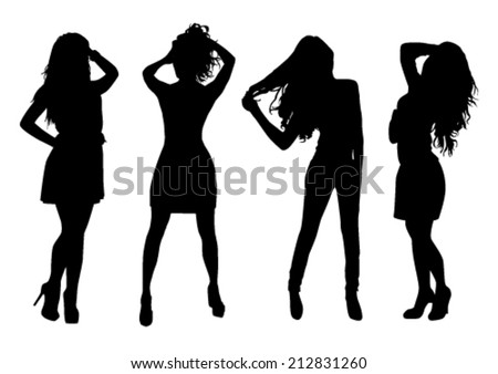 Silhouettes of beautiful girls - stock vector