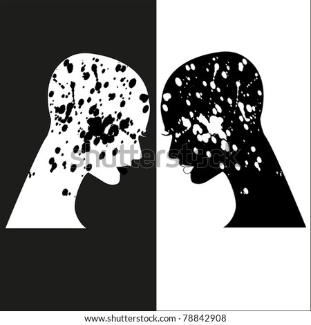 silhouettes of beautiful women with splashes - stock vector