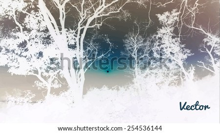 Silhouettes of big trees in the park on sunset. detailed vector illustration - stock vector