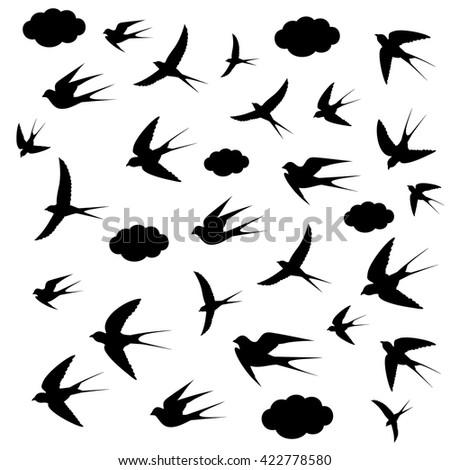 Silhouettes Birds Flightvector Illustration Stock Vector ...