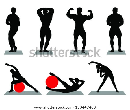 Silhouettes of bodybuilding and fitness-vector - stock vector
