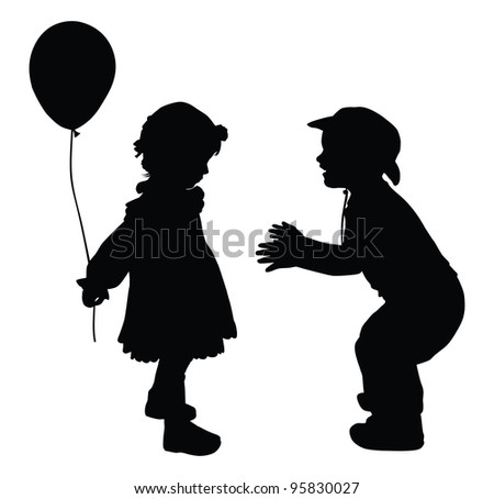 Silhouettes of boy in cowboy hat and girl with baloon. Retro style. Vector eps8 - stock vector