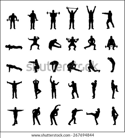 Silhouettes of boys sports - stock vector