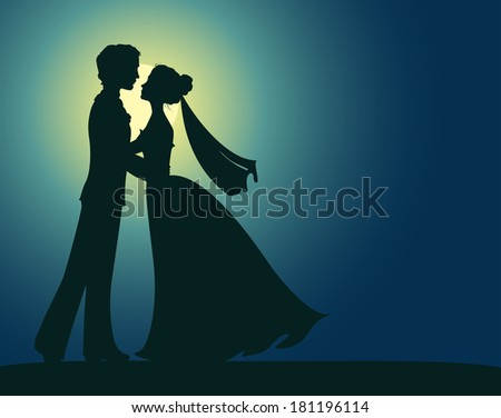Silhouettes of bride and groom - stock vector