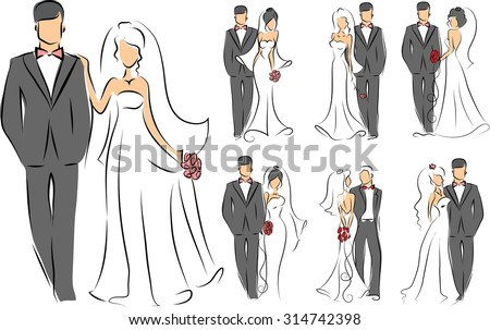 Silhouettes of bride and groom, background, wedding invitation, the vector  - stock vector