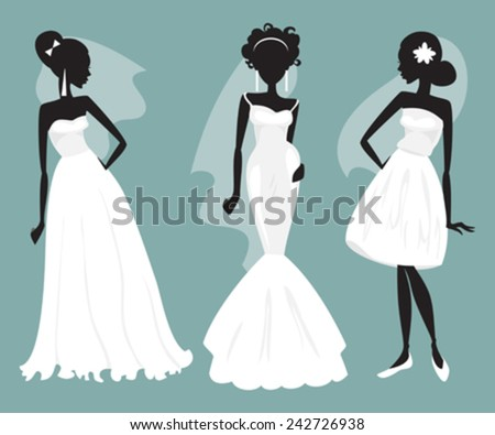 Silhouettes of brides in various wedding dresses - stock vector