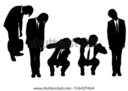Silhouettes of business man looking depressed from work with white background - stock vector