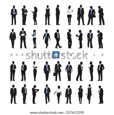Silhouettes of Business People and Business People Texts - stock vector