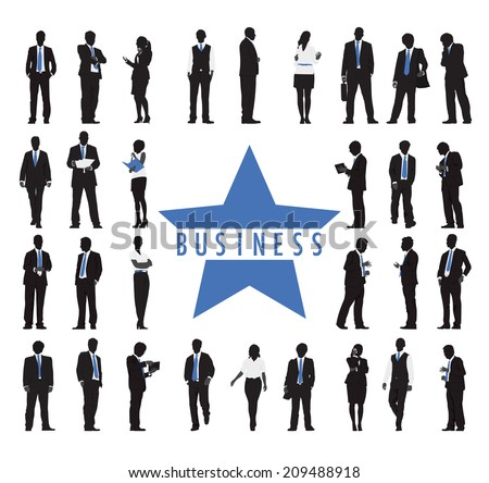 Silhouettes of Business People and Business Text - stock vector