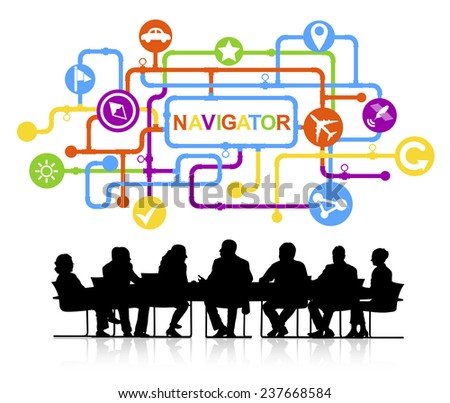 Silhouettes of Business People and Navigator Concepts - stock vector