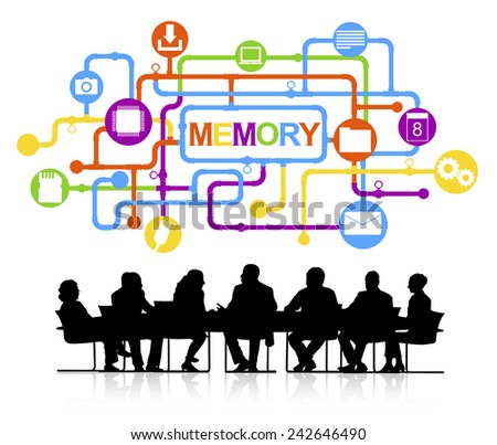 Silhouettes of Business People and Technology Memory Concept Vector - stock vector