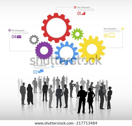Silhouettes of business people discussing and multi-colored gears with global networking themed symbols. - stock vector