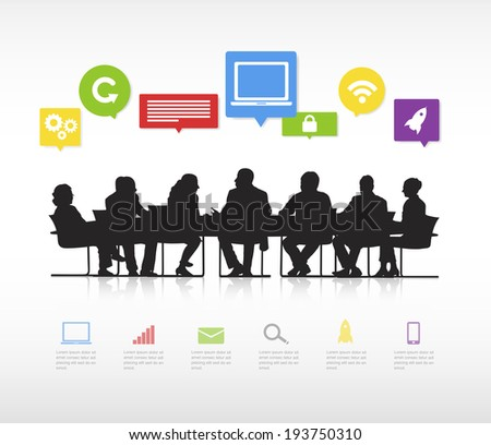 Silhouettes of business people having a meeting and multi-colored speech bubbles with global networking themed symbols. - stock vector