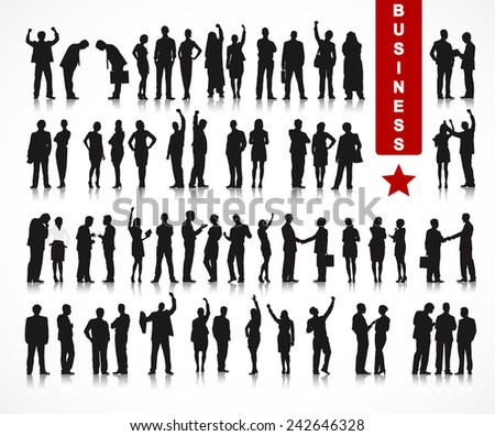 Silhouettes of Business People in a Row Vector - stock vector