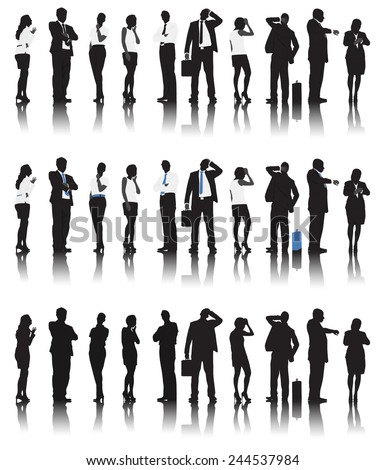 Silhouettes of Business People in a Row Waiting - stock vector